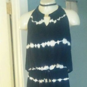 Black and White Tie Died Long Maxi Dress